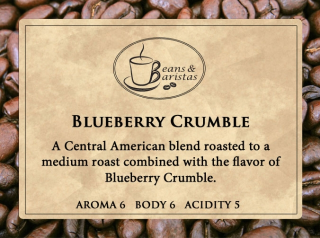 A Central American blend roasted to a medium roast combined with the flavor of Blueberry Crumble.