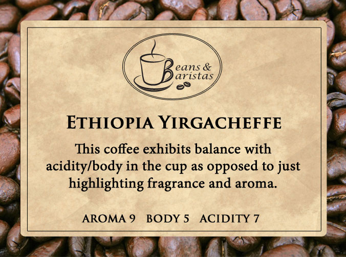 This coffee exhibits balance with acidity/body in the cup as opposed to just highlighting fragrance and aroma.