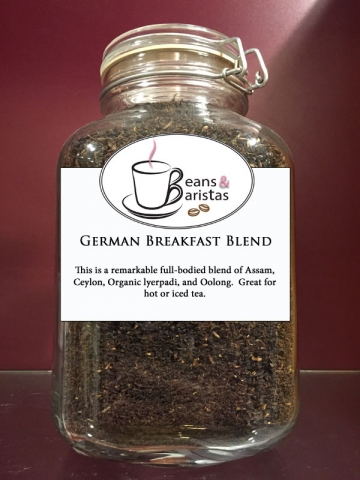 This is a remarkable full-bodied blend of Assam, Ceylon, organic lyerpadi, and Oolong.  Great for hot or iced tea.