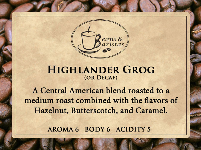 A Central American blend roasted to a medium roast combined with the flavors of Hazelnut, Butterscotch, and Caramel.