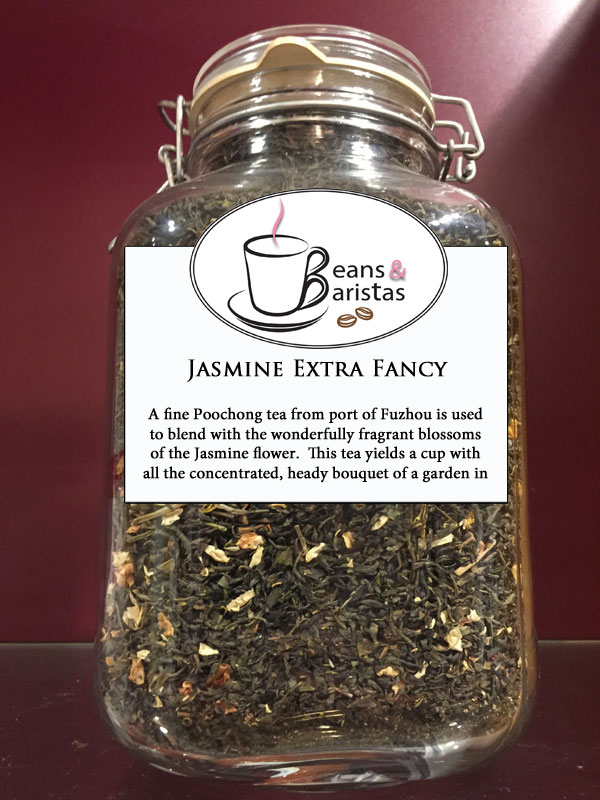 A fine Poochong tea from port of Fuzhou is used to blend with the wonderfully fragrant blossoms of the Jasmine flower.  This tea yields a cup with all the concentrated, heady bouquet of a garden in bloom!  Contains Jasmine flower.