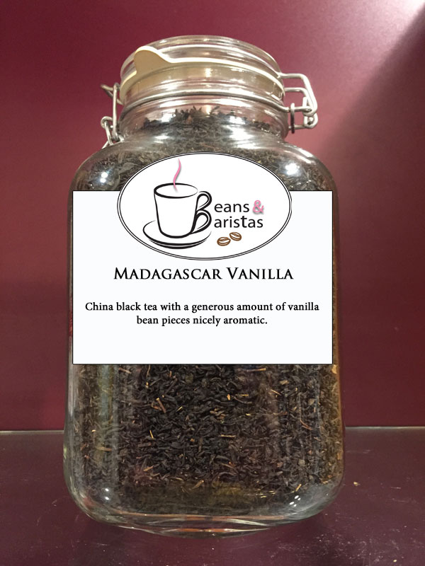 China black tea with a generous amount of vanilla bean pieces nicely aromatic.