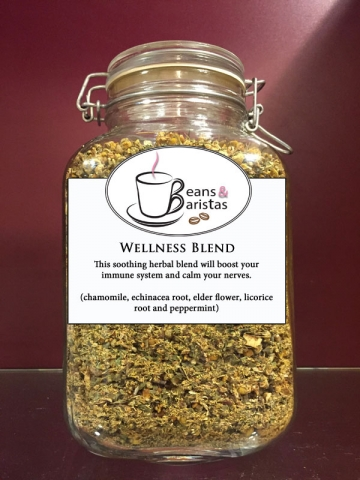 This soothing herbal blend will boost your immune system and calm your nerves.  (chamomile, echinacea root, elder flower, licorice root and peppermint)