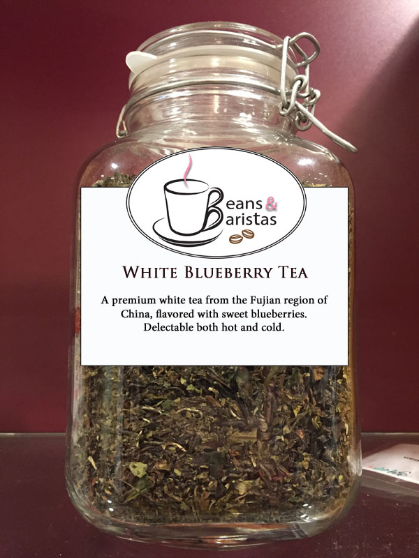 A premium white tea from the Fujian region of China, flavored with sweet blueberries.  Delectable both hot and cold.