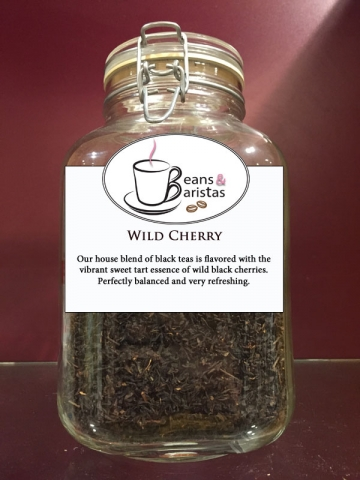 Our house blend of black teas is flavored with the vibrant sweet tart essence of wild black cherries.  Perfectly balanced and very refreshing.